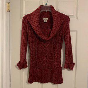 Deep pink/maroonish 3/4 sleeve cowl-neck sweater